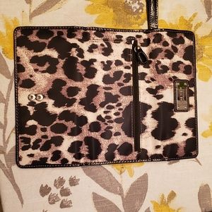 Nine West leopard vinyl wristlet